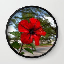 Red Flower Bloom Wall Clock