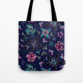 Exploding Stars and Flowers Tote Bag