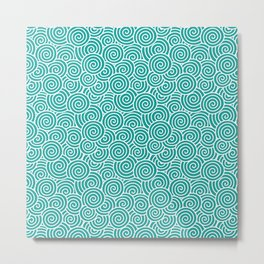 Chinese Spirals | Abstract Waves | Teal and White Metal Print