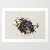 deer Art Prints featuring Hair III by The White Deer