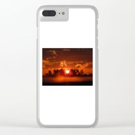 Flaming Horses over the Foggy Sunrise Clear iPhone Case