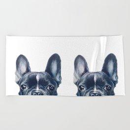 French Bull dog Dog illustration original painting print Beach Towel