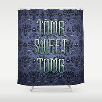 tomb raider Shower Curtains featuring Haunted Mansion - Tomb Sweet Tomb by Brianna