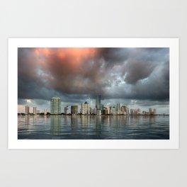 Sunrise lights the clouds over Miami Florida Art Print