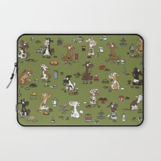 Retro cows - green Laptop Sleeve