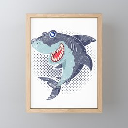 Happy Shark Framed Mini Art Print