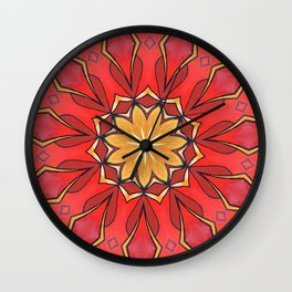 Ochre and Red Abstract Kaleidoscope Wall Clock