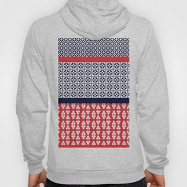 Japanese Style Ethnic Quilt Blue and Red Hoody
