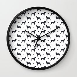 boston terrier silhouette pattern Wall Clock