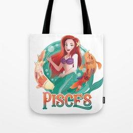 Pisces Zodiac Mermaid Tote Bag