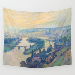 Václav Radimský (1867-1946) View of Rouen Impressionist Landscape Painting Bright Colors Oil Wall Tapestry