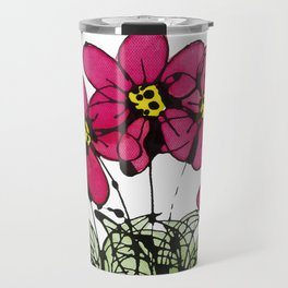 Seven Flowers (Pink): gorgeously simple original art, vibrant flowers in a pot Travel Mug