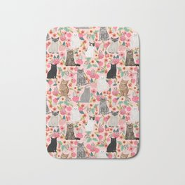 Cat floral mixed breeds of cats gifts for pet lovers cat ladies florals Bath Mat