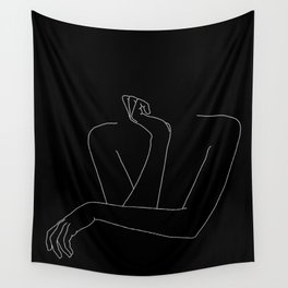 Woman's body line drawing illustration - Anna black Wall Tapestry