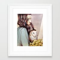 owl Framed Art Prints featuring The Girl and the Owl by Michael Shapcott
