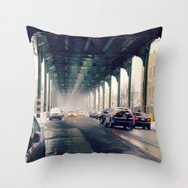 Light Snow Under the Subway Throw Pillow