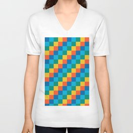 Color me happy - Pixelated Pattern in bright colors Unisex V-Neck