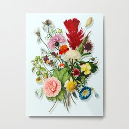 Ultimate nineteen antique heirloom flowers, trump l'oeil bouquet on textured blue, hand-colored copperplate engraving, original aquatint dry brush watercolor print, transparent PNG composition 12 Metal Print