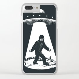 Bigfoot abducted by UFO Clear iPhone Case