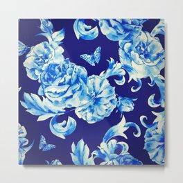 Blue Flowers & Butterflies Pattern Metal Print