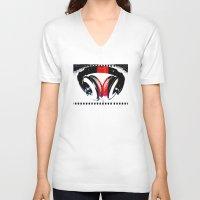 headphones V-neck T-shirts featuring Headphones by Derek Fleener