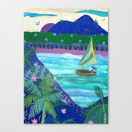 Sailing by Tropical Islands Canvas Print