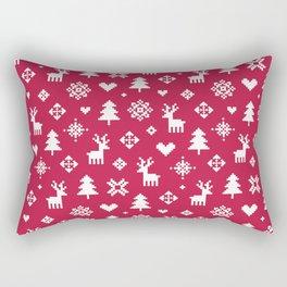 PIXEL PATTERN - WINTER FOREST RED Rectangular Pillow