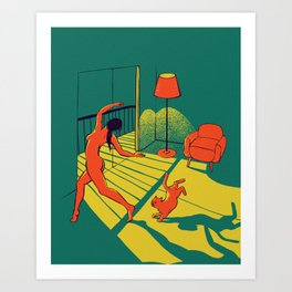 Dancing with the cat | Moody sunset light and shadows | Aesthetic room | Naked dance | Femme Fatale  Art Print