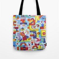 game Tote Bags featuring Game by Tanja K