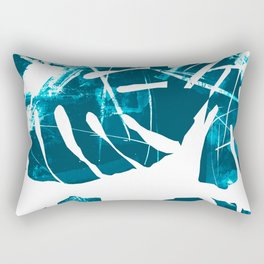 Monstera Leaf Blue Rectangular Pillow