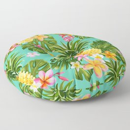 Pinapples and Tropical Flowers, Vintage hand drawn illustration pattern. Floor Pillow