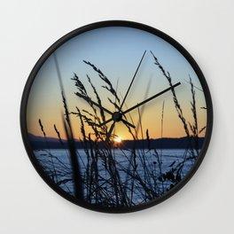 Sunset Sea Grass Wall Clock