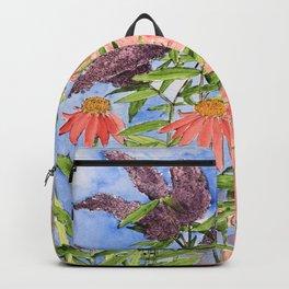 Cottage Garden Butterfly Bush Watercolor Illustration Backpack