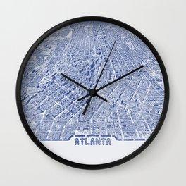Atlanta Map - Atlanta City Skyline Wall Clock