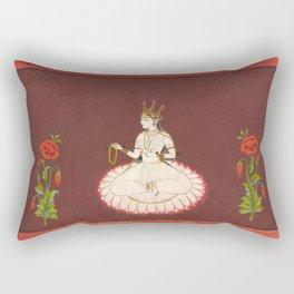 Goddess Saraswati, 17th Century Pantn Rectangular Pillow