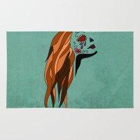 dia de los muertos Area & Throw Rugs featuring Dia De Los Muertos by Caitlin Victoria Parker