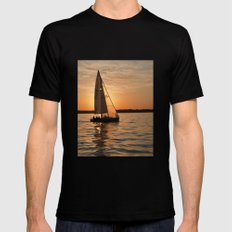 Sail into the sunset Mens Fitted Tee MEDIUM Black