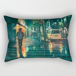 Japanese walking in the rain Rectangular Pillow