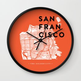 San Francisco Map 04 Wall Clock