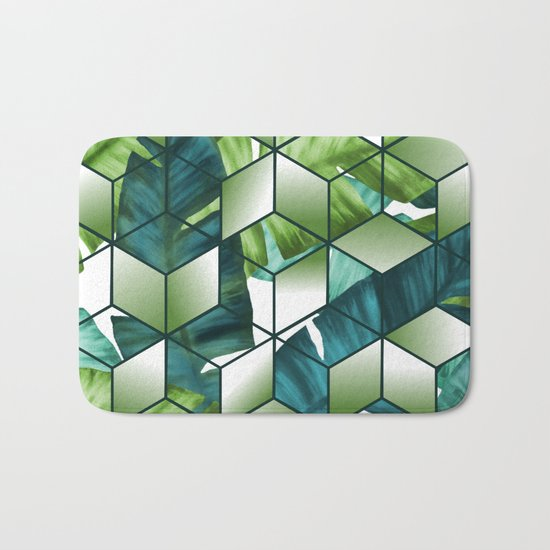 Tropical Cubic Effect Banana Leaves Design Bath Mat