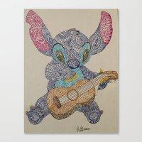 stitch Canvas Prints featuring Stitch by Julia