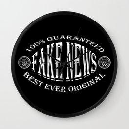 Fake News badge (white on black) Wall Clock