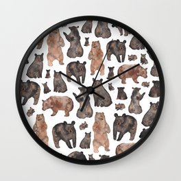 Woodland Bear Pattern Wall Clock
