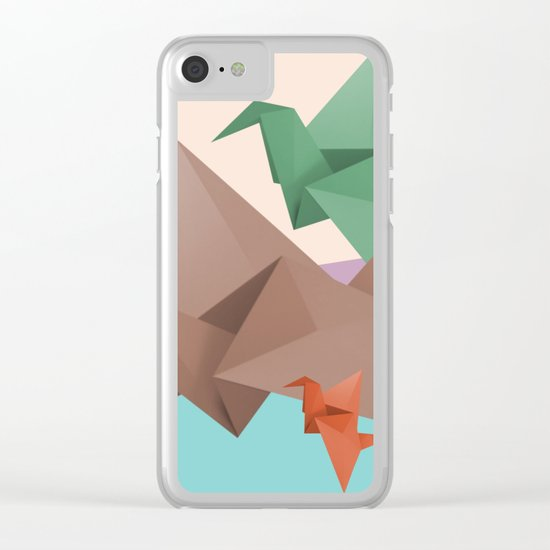 PAPER CRANES (Origami abstract birds animals nature) Clear iPhone Case