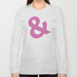 Ampersand - pink on white Long Sleeve T-shirt