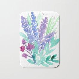Lavender Floral Watercolor Bouquet Bath Mat