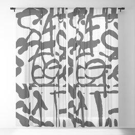 Graffiti Pattern Sheer Curtain