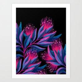 Pohutukawa - Pink / Blue Art Print