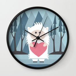 Little Yeti, Big Heart Wall Clock