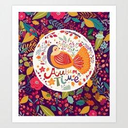 Bird in autumn forest Art Print